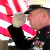 Date:   11/11/98----Richard Hall, former gunnery SGT. in the Marines from1954 to 1975 stands and salutes during the Veterans Day ceremony Wednesday morning on the Gregg County Courthouse lawn in Longview. Kevin green