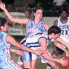 12-3-99---Southside's #13Hibba Ihmeidan, and #21 Emily Walker, guard Loyola's #54 Mary Catherine Clemons during a game Friday afternoon at LOBO Coliseum. Kevin Green