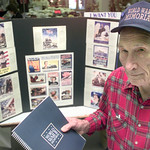 2/13/99---Wolrd War II vet Sam Allen stands with his booth at the Gregg County Jaycees Trades Days Saturday afternoon in Longview to inform people about the WWII Memorial. Kevin Green