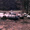 7/7/99---Keith Nance, right, with blue shirt, owner of Lone Star Supergas of Kilgore,  walks around the accident scene Wednesday morning after a flatbed truck owned by the Lone Star company lost control and lost a load of 44 barrels filled with racing fuel on US 259 in Rusk County.Kevin green