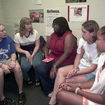7-11-00---Left to right---Lindsey Hinkle,16, Stephanie Loden,16, LaToya Addison,16, Haley Guida,15, Baitni Johnson,14, at the abstinence meeting  Tuesday aftrenoon in Longview. Kevin GReen