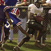 Longview High School's #24 drops a pass Friday August 31, 2001 against Evagel in Shreveport. Kevin green